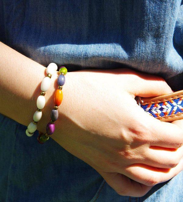 bracelet multicolore en ivoire végétal (tagua, corozo) SOLTITA