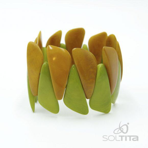 bracelet vert et jaune en ivoire végétal (tagua, corozo) SOLTITA
