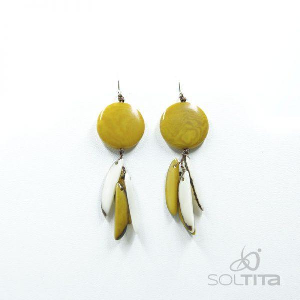 boucles d'oreille jaune en ivoire végétal (tagua, corozo) SOLTITA