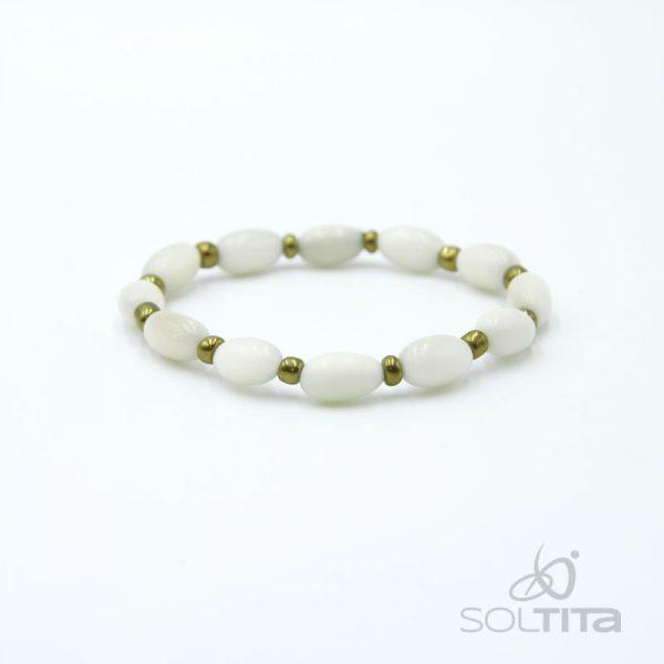 bracelet blanc en ivoire végétal (tagua, corozo) SOLTITA
