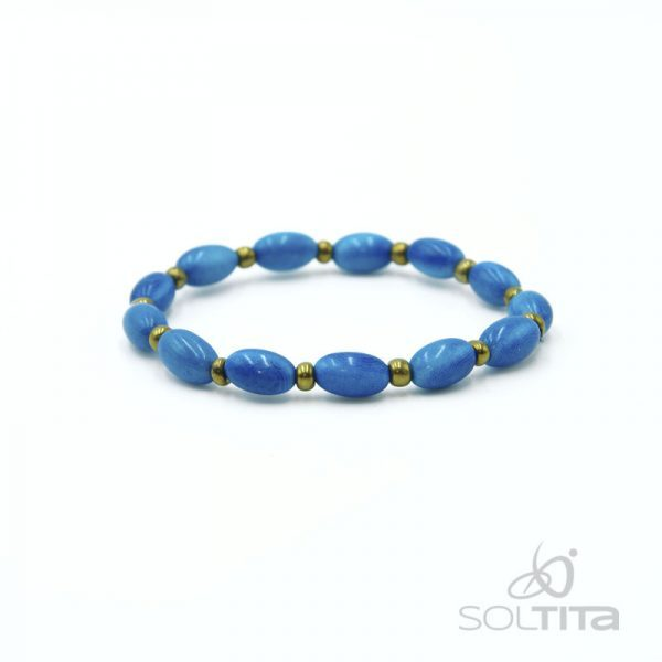 bracelet bleu turquoise en ivoire végétal (tagua, corozo) SOLTITA