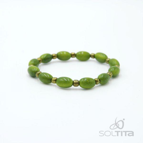 bracelet vert en ivoire végétal (tagua, corozo) SOLTITA